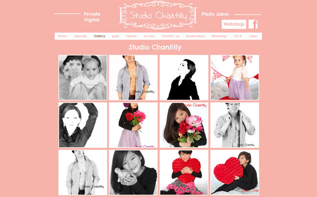 Wixホームページビルダーで作成された写真館のオンラインポートフォリオ