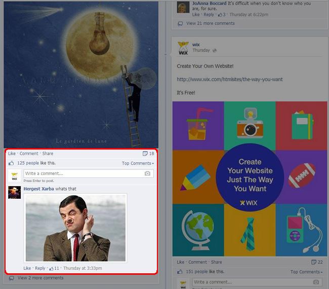Facebookの写真付きコメントの画像