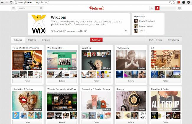 Wix の公式 Pinterest ページ