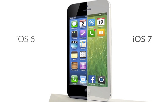 iOS6 の旧デザインと iOS7 の新デザインの違い