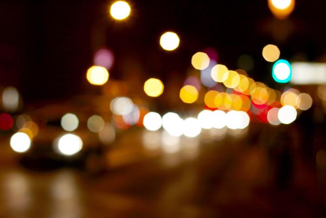 ぼやけている夜景の写真