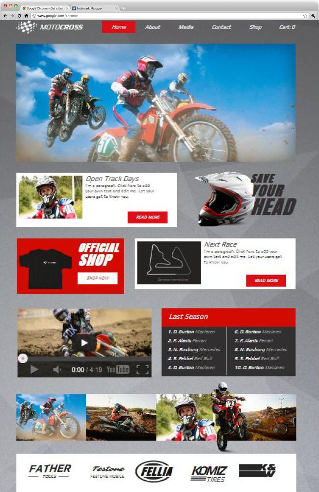 オートバイ、バイク系サイトのホームページテンプレート