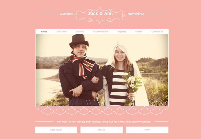 ロマンティックでキュートなデザインのホームページテンプレート