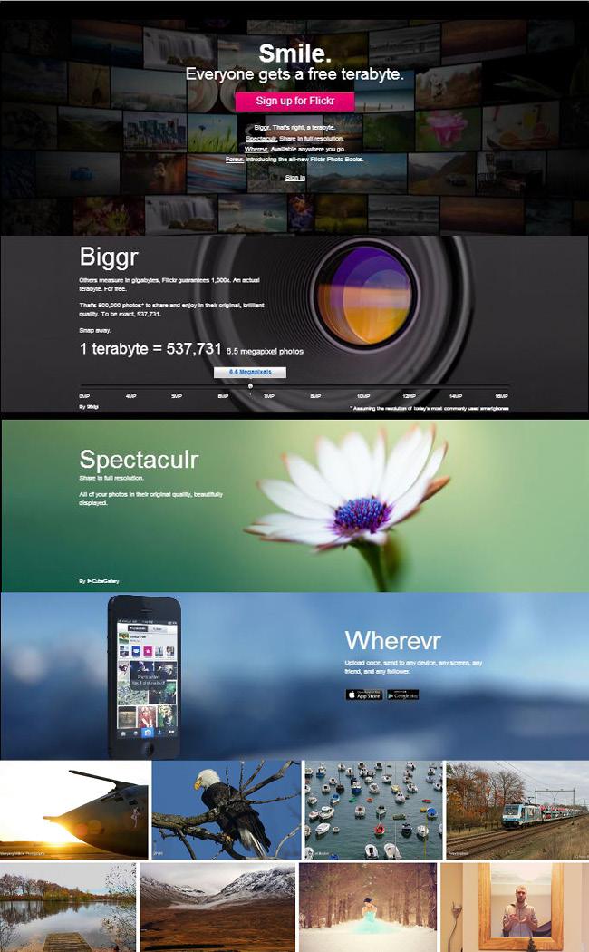 Flickrのホームページデザイン