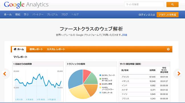 Googleアナリティクスのウェブページ